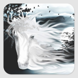 Ghostly horse square stickers