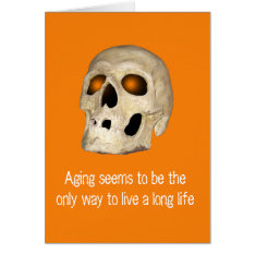 Ghostly Skull Orange Eye Sockets Birthday Card at Zazzle