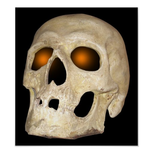 Ghostly Skull With Orange Eye Sockets Poster