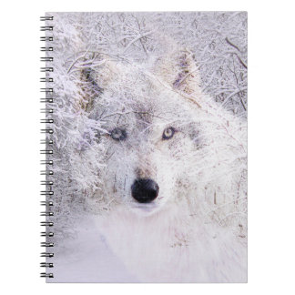 Ghostly snow wolf notebooks