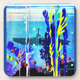 ghostly submarine in tropical waters drink coaster
