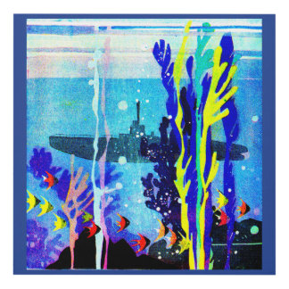 ghostly submarine in tropical waters panel wall art