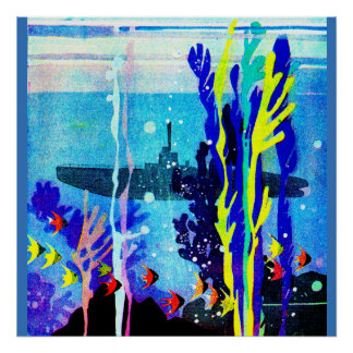 ghostly submarine in tropical waters poster