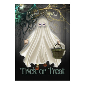 Ghostly Trick Or Treat Halloween Party Invitation