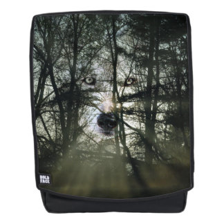 Ghostly wolf face backpack