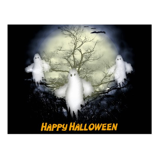 Ghosts and Bats Spooky Halloween Greeting Postcard