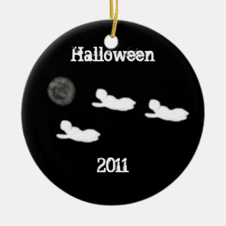 Ghosts and Full Moon Halloween Double-Sided Ceramic Round Christmas Ornament