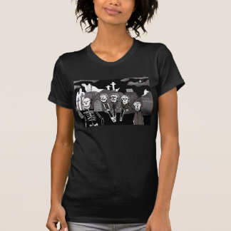 Ghosts and skeletons in the graveyard tshirts