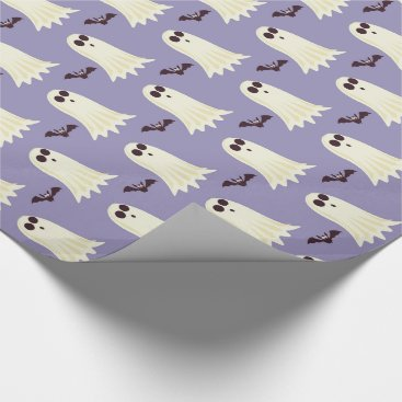 Halloween Themed Ghosts & Bats Lilac Halloween Wrapping Paper