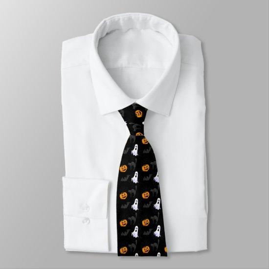 ghosts, cats, bats, pumpkins neck tie
