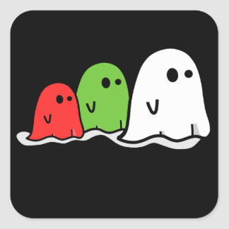 ghosts cute funny red green white square sticker
