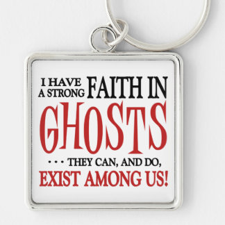 Ghosts Exist Silver-Colored Square Keychain
