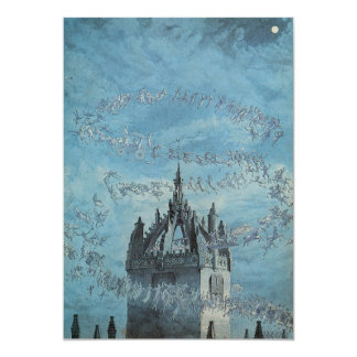 Ghosts Flying Around a Church Tower Halloween 5x7 Paper Invitation Card