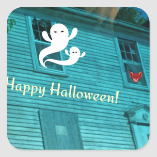 Ghosts Flying Out Of Haunted House Sticker
