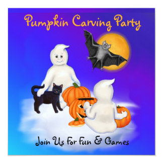 """Ghosts & Friends Pumpkin Carving Party 5.25"""" Square Invitation Card"""