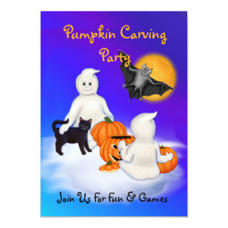 """Ghosts & Friends Pumpkin Carving Party 5"""" X 7"""" Invitation Card"""