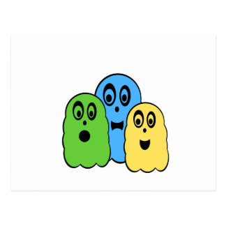 Ghosts in green blue yellow postcard