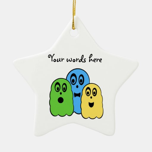 Ghosts in green yellow blue Double-Sided star ceramic christmas ornament