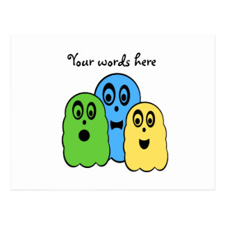 Ghosts in green yellow blue postcard