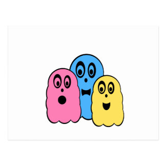 Ghosts in pink blue yellow postcard