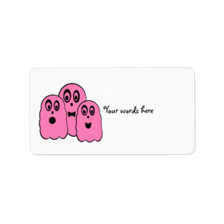 Ghosts in pink address label