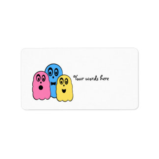 Ghosts in pink yellow and blue address label