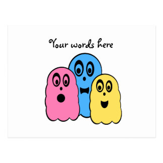 Ghosts in pink yellow and blue postcard