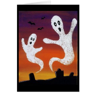Halloween Themed Ghosts in the Graveyard Halloween Greeting Card