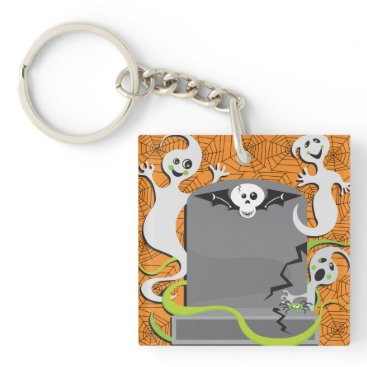 Halloween Themed Ghosts On A Tombstone Keychain