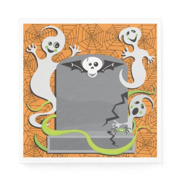 Halloween Themed Ghosts On A Tombstone Paper Napkins
