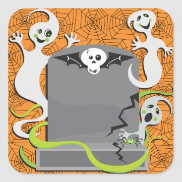 Halloween Themed Ghosts On A Tombstone Stickers