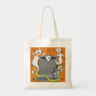 Halloween Themed Ghosts On A Tombstone Tote Bag