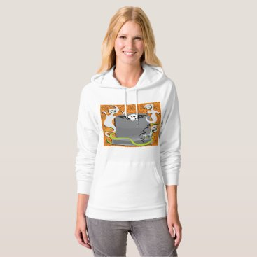 Halloween Themed Ghosts On A Tombstone Womens Hoodie