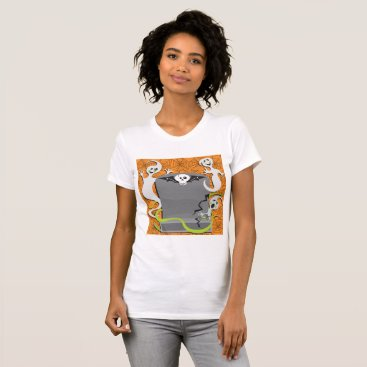 Halloween Themed Ghosts On A Tombstone Womens T-Shirt