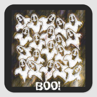 GHOSTS SAY BOO! SQUARE STICKERS
