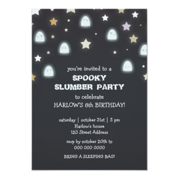 Halloween Themed Ghosts Stars Spooky Slumber Party Invite