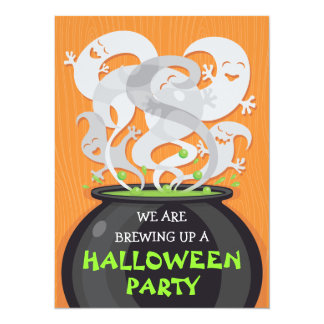 Ghosts & Witches Cauldron Halloween Invitation