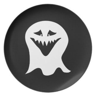 Ghoul Ghost. Black and White. Dinner Plate