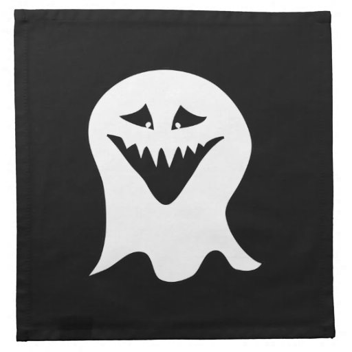 Ghoul Ghost. Black and White. Printed Napkins