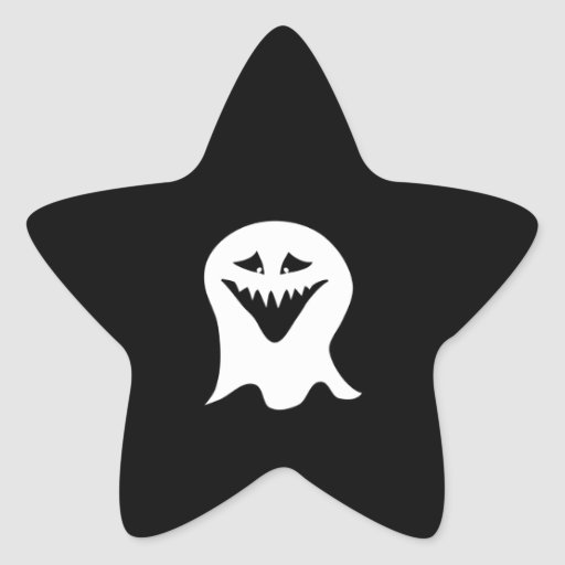 Ghoul Ghost. Black and White. Star Sticker
