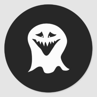 Ghoul Ghost. Black and White. Classic Round Sticker