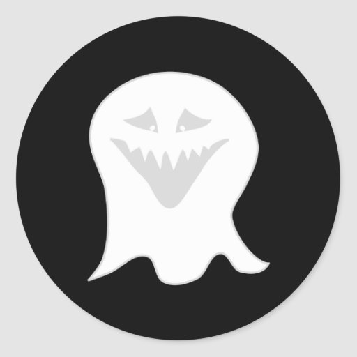 Ghoul Ghost. Gray and White. Classic Round Sticker