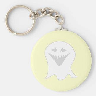 Ghoul Ghost. Gray and White. Basic Round Button Keychain