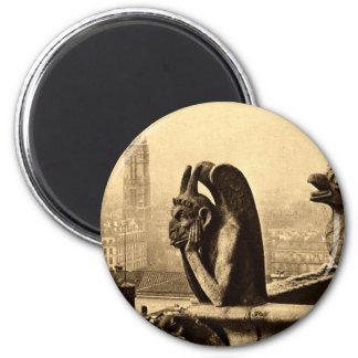 Ghoul Notre Dame, Paris France 1912 Vintage 2 Inch Round Magnet