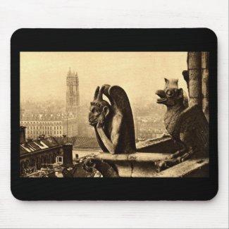 Ghoul Notre Dame, Paris France 1912 Vintage mousepad