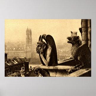 Ghoul Notre Dame Paris France 1912 Vintage Poster