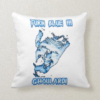 Ghoulardi (Blue-Transparent) Throw Pillow