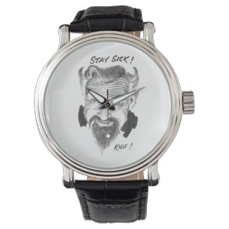 Ghoulardi (Stay Sick) Black Leather Strap Watch