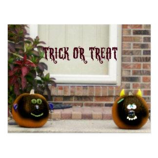 Ghouled Faced Pumpkins Postcard