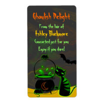 Ghoulish Cat Cauldron Halloween Baking Labels
